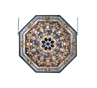 """35""""W X 35""""H Floral Stained Glass Window (96 107224)"""
