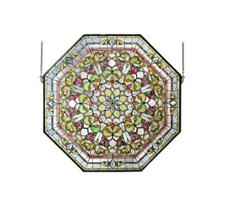 """35""""W X 35""""H Floral Stained Glass Window (96 107225)"""