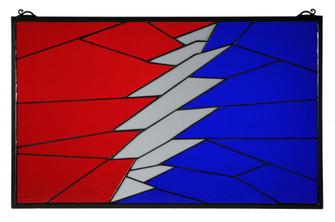 "27""W X 16.75""H Greatful Dead Stained Glass Window (96 140815)"