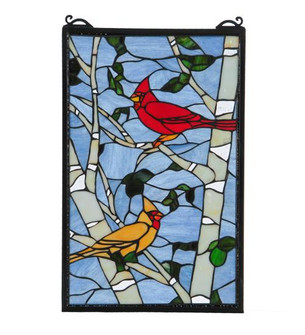 """13""""W X 10""""H Cardinals Morning Stained Glass Window (96 119436)"""