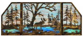"""72""""W X 30""""H Moose at Lake 3 Panel Stained Glass Window (96 147850)"""