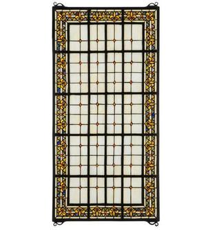 "24""W X 48""H Fleur-de-lis Stained Glass Window (96 30406)"