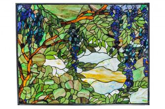 """32""""W X 24""""H Tiffany Wisteria & Snowball Stained Glass Window (96 153575)"""