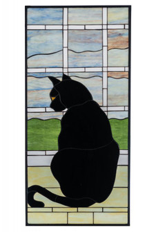 "20""W X 42""H Cat in Window Stained Glass Window (96 164772)"