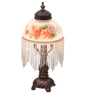 13 inches  High Roussillon Rose Bouquet Fringed Mini Lamp (16578)