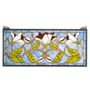 """25"""" Wide X 11"""" High Magnolia Stained Glass Window (96 204638)"""