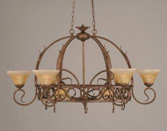 Eight Light Bronze Amber Crystal Glass Pot Rack (418|216-BRZ-750)