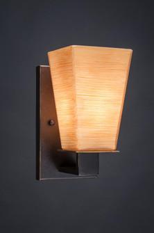 One Light Dark Granite Square Cayenne Linen Glass Wall Light (418 581-DG-670)
