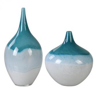 Uttermost Carla Teal White Vases, S/2 (85|20084)