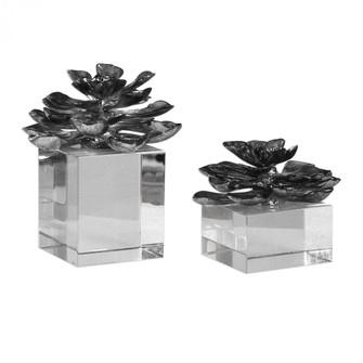 Uttermost Indian Lotus Metallic Silver Flowers S/2 (85|20158)