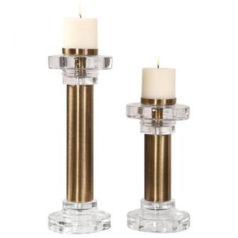 Uttermost Leslie Brushed Brass Candleholders, S/2 (85|18645)