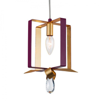 Posh 1-Lt Square Mini Pendant - Plum/Gold Leaf (158|263M01SPLGL)