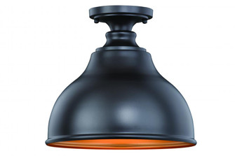 Delano 11-in Outdoor Flush Mount Ceiling Light Oil Burnished Bronze and Light Gold (T0315)