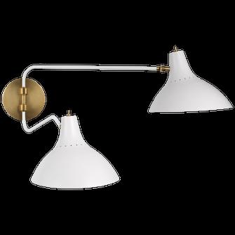 Charlton Medium Double Wall Light (279 ARN 2071WHT)