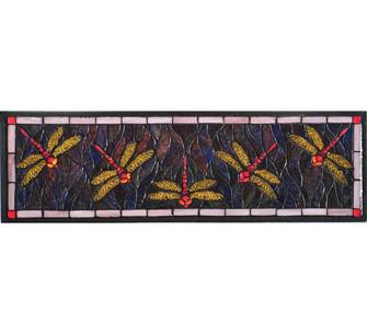 27''W X 8.75''H Three Dragonfly Stained Glass Window (96|98486)