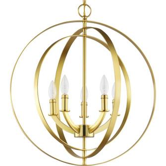 Equinox Collection Satin Brass Five-Light Sphere Pendant (P3841-12)