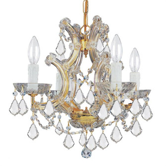 Maria Theresa 4 Light Swarovski Strass Crystal Gold Mini Chandelier (4474-GD-CL-S)