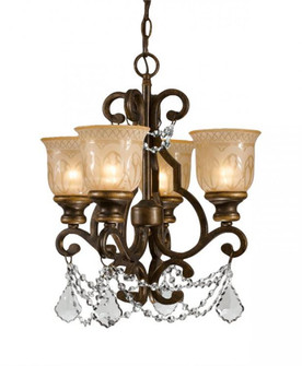 Norwalk 4 Light Swarovski Strass Crystal Bronze Mini Chandelier (205|7504-BU-CL-S)