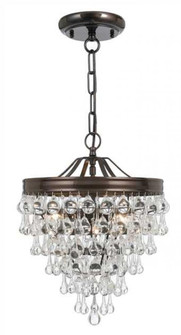 Calypso 3 Light Crystal Teardrop Bronze Mini Chandelier (130-VZ)