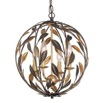 Broche 4 Light English Bronze & Antique Gold Sphere Mini Chandelier (504-EB-GA)