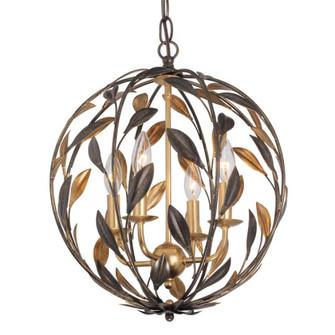 Broche 4 Light English Bronze & Antique Gold Sphere Mini Chandelier (205|504-EB-GA)
