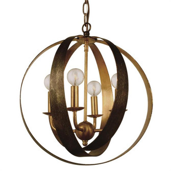 Luna 4 Light Bronze & Gold Sphere Mini Chandelier (584-EB-GA)