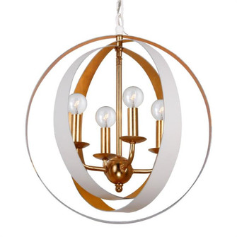 Luna 4 Light White & Gold Sphere Mini Chandelier (584-MT-GA)
