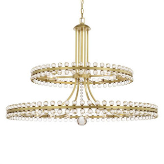 Clover 24 Light Aged Brass Two-tier Chandelier (205 CLO-8890-AG)