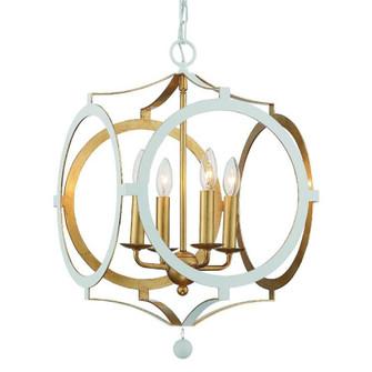Odelle 4 Light White and Gold Chandelier (205|ODE-704-MT-GA)