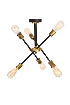 Axel Collection Flushmount D17.1 H16.6 Lt:6 Black and Brass Finish (758|LD8003D17BK)