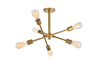Axel 6 Lights Brass Flush Mount (758|LD8003D17BR)