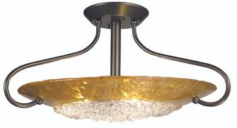 3-Light Polished Nickel Brocatto Flush / Semi-Flush Mount (1098 PN/BL)