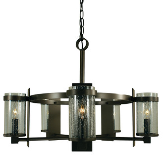 5-Light Antique Brass/Frosted Glass Hammersmith Chandelier (84 4435 AB/F)