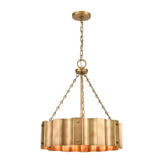 Clausten 4-Light Chandelier in Natural Brass with Natural Brass Metal Shade (91 89067/4)