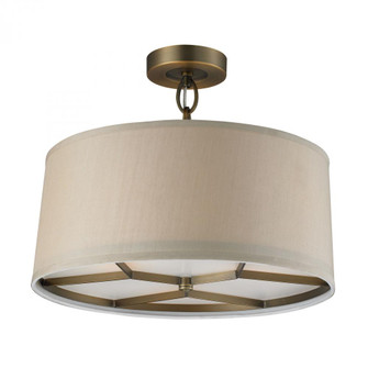 Baxter 3-Light Semi Flush in Brushed Antique Brass with Beige Shade (91 31262/3)