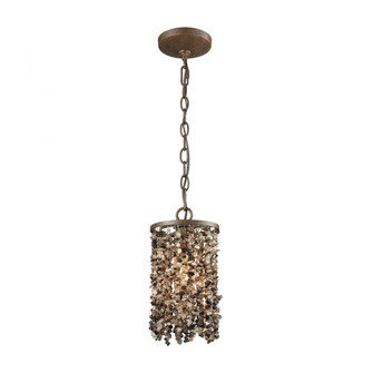 Agate Stones 1-Light Mini Pendant in Weathered Bronze with Dark Agate Stones - Includes Adapter Kit (91 65315/1-LA)