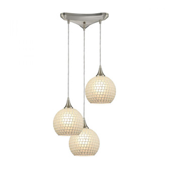 Fusion 3-Light Triangular Pendant Fixture in Satin Nickel with White Mosaic Glass (91|529-3WHT)