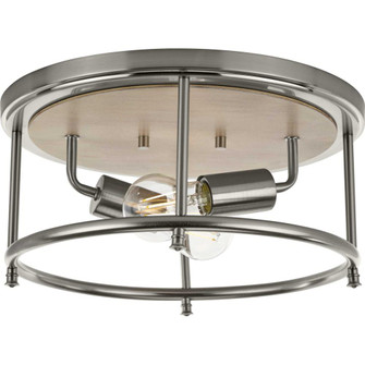 """Durrell Collection Two-Light Brushed Nickel 13"""" Flush Mount (149 P350151-009)"""