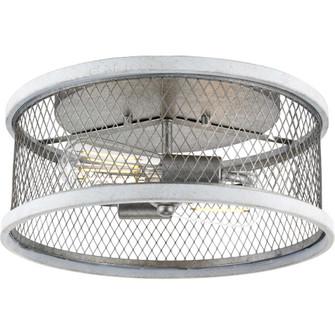 "Austelle Collection Two-Light Galvanized 14"" Flush Mount (149 P350154-141)"