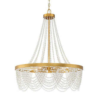 Fiona 4 Light Antique Gold Chandelier with White Beads (205|FIO-A9104-GA-WH)