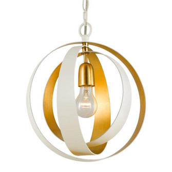 Luna 1 Light Matte White & Antique Gold Sphere Mini Chandelier (580-MT-GA)