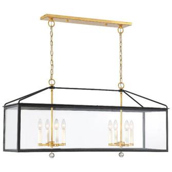Weston 8 Light Black & Antique Gold Lantern (205|WES-9909-BK-GA)