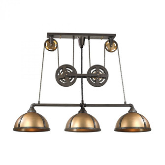 Torque 3-Light Island Light in Vintage Brass and Rust with Metal Shade (91|65152/3)