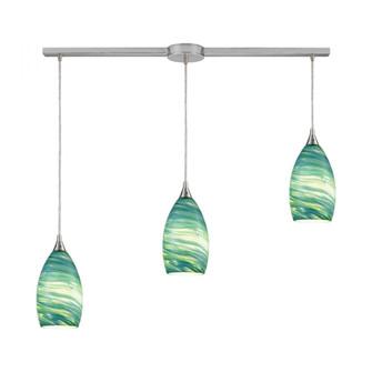 Collanino 3-Light Linear Mini Pendant Fixture in Satin Nickel with Aqua Swirl Blown Glass (91|10650/3L)