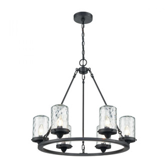 Torch 6-Light Outdoor Chandelier in Charcoal with Water Glass (91 45406/6)