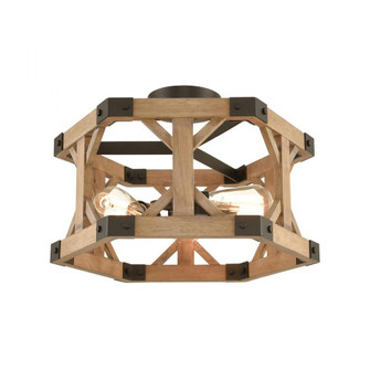 Structure 3-Light Semi Flush in Oil Rubbed Bronze and Natural Wood (91|33321/3)