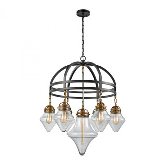 Gramercy 7-Light Chandelier in Classic Brass and Oil Rubbed Bronze with Clear Glass (91|16461/7)