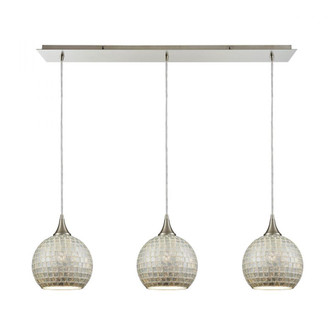 Fusion 3-Light Linear Mini Pendant Fixture in Satin Nickel with Silver Mosaic Glass (91|529-3LP-SLV)