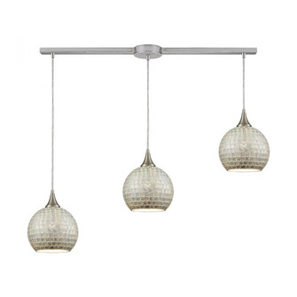 Fusion 3-Light Linear Mini Pendant Fixture in Satin Nickel with Silver Mosaic Glass (91|529-3L-SLV)