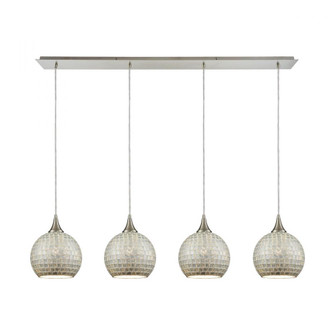 Fusion 4-Light Linear Pendant Fixture in Satin Nickel with Silver Mosaic Glass (91|529-4LP-SLV)
